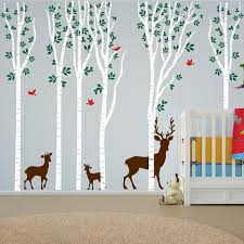 Tree Nursery Wall Decal Birch Tree Forest Set Vinyl Nursery Wall Decal Deer 1264
