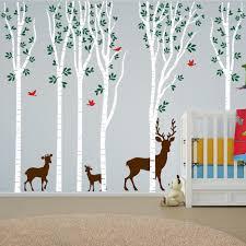 Nursery Wall Decal Birch Tree Forest Set Vinyl Nursery Wall Decal Deer 1264