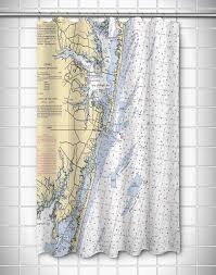 Ocean City Md Map Md Ocean City Md Nautical Chart Shower Curtain Nautical Chart