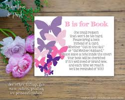 book request poem insert baby shower invitation butterfly