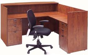 Office Desk With Locking Drawers L Shaped Cherry Laminate Reception Desk W Drawers