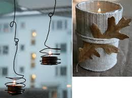 porta candele bricolage a lume di candela