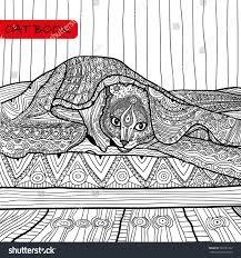 coloring book adults zentangle cat bookthe stock vector 369781322