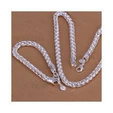 braided chain necklace images Lknspcs059 men 39 s chunky jewelry set silver plated braided chain jpg