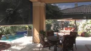 Outdoor Patio Windscreen by Drop Shade Patio Shades Retractable Solar Screens Las Vegas Youtube
