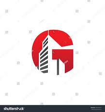 g alphabet building negative space letter stock vector 396234673