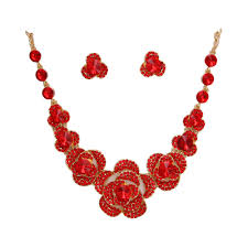 red flower necklace images 2015 indian wedding bridal jewelry set statement necklace red rose jpg
