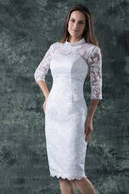 white lace dress with sleeves knee length 2018 arrival 3 4 sleeves high neck knee length white lace