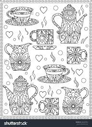coloring page with coffee cups coffee tea coloring pages for