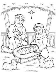 nativity jesus is born in a manger in nativity coloring page
