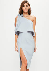 grey crepe one shoulder bow sleeve midi dress missguided