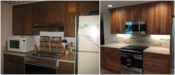 Before And After Kitchen Remodel Hickory Cabinets Transform 1970 U0027s Kitchen C U0026r Remodeling