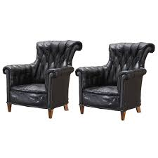 Leather Wingback Chair English Black Leather Wingback Chairs At 1stdibs