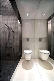 bathroom white waterfall shower dark brown vanity cabinets white