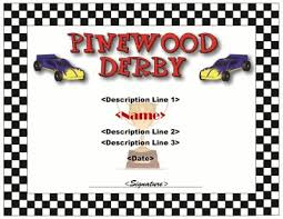 pinewood derby certificate template cub scout derby pinewood