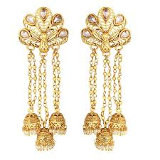 Chandelier Earrings India Buy Spargz Festive Brass Gold Plated Peacock Indian Matte Finish