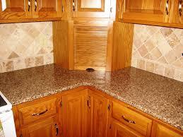 granite countertop rustic wood cabinet white subway tile