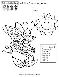 addition coloring worksheet free kindergarten math worksheet for