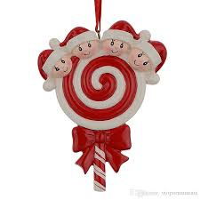 lollipop family of 4 resin hang ornaments with glossy baby