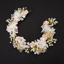 necklace flower handmade images Classic handmade headdress ceramic dry flower wedding tiara jpg