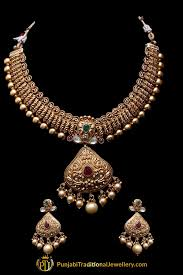 red antique necklace images Red green antique gold necklace set by punjabi traditional jpg