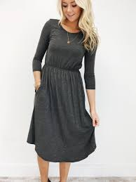 thanksgiving day clothes charcoal 3 4 sleeve midi dress pockets elastic waistband