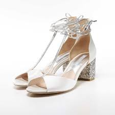 wedding shoes block heel glitter block heel peep toe ankle tie shoes miss white