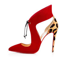 christian louboutin red ferme rouge 100 leopard lace up heel pumps