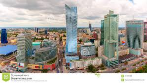 Modern City by Aerial View Of Modern City In Warsaw Poland Stock Photo Image
