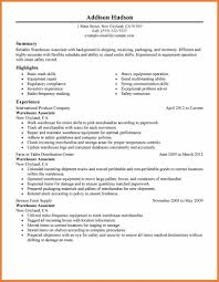 Warehouse Associate Sample Resume by Entry Level Warehouse Resume Best Free Resume Collection