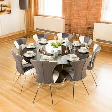 luxury large round black oak dining table lazy susan plus eight