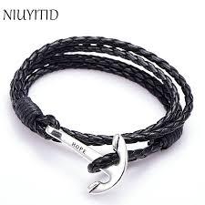 man hand bracelet images Niuyitid 40cm pu leather men bracelet jewelry man anchor bracelet jpg
