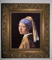 vermeer pearl earring vermeer the girl with a pearl earring gold framed canvas print