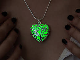 green heart necklace images Heart necklace glowing necklace big green heart girlfriend etsy jpg