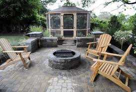 Gazebo Fire Pit by Indoors Out U0027 Team Transforms A Gloucester Backyard The Boston Globe