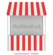 Awnings For Shops Striped Awnings Market Store Illustration Set Striped Stock Vector