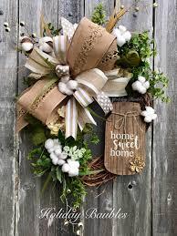 Grapevine Floral Design Home Decor The Cotton Wreath Everyday Wreath All Season Wreath Deco Mesh