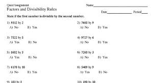factors and divisibility rules 30 multiple choice questions