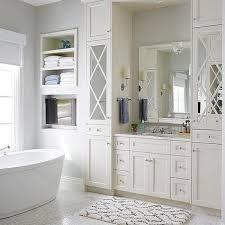 Bathroom Vanity With Linen Cabinet Mirrored Bath Vanity Linen Cabinets Design Ideas