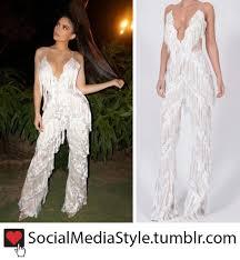 buy jumpsuit jenner s white fringe jumpsuit and rihanna