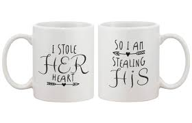wedding gift mugs stealing hearts his and hers coffee mugs