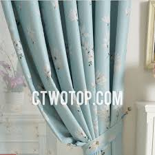 Blue Floral Curtains Light Sky Blue Floral Printed Blackout Living Room Curtains