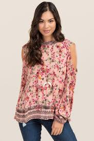 cold shoulder tops pink darla high neck floral cold shoulder top s