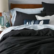 Black Duvet Covers Belgian Flax Linen Duvet Cover Shams West Elm