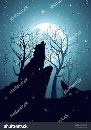 silhouette wolf howling moon forest night stock vector 544044997