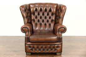 tufted brown leather vintage scandinavian wing chair harp