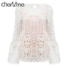crochet blouses charmma hollow out lace crochet blouse shirts