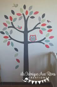 arbre déco chambre bébé stickers arbre hibou oiseaux mint vert d eau corail gris