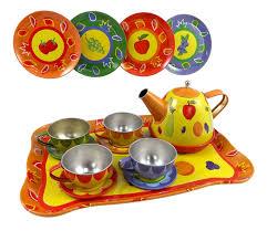 amazon tea amazon com colorful fruit tin tea party set for kids metal