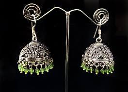 jhumkas earrings green jhumka earrings large silver jhumkas earrings ethnic
